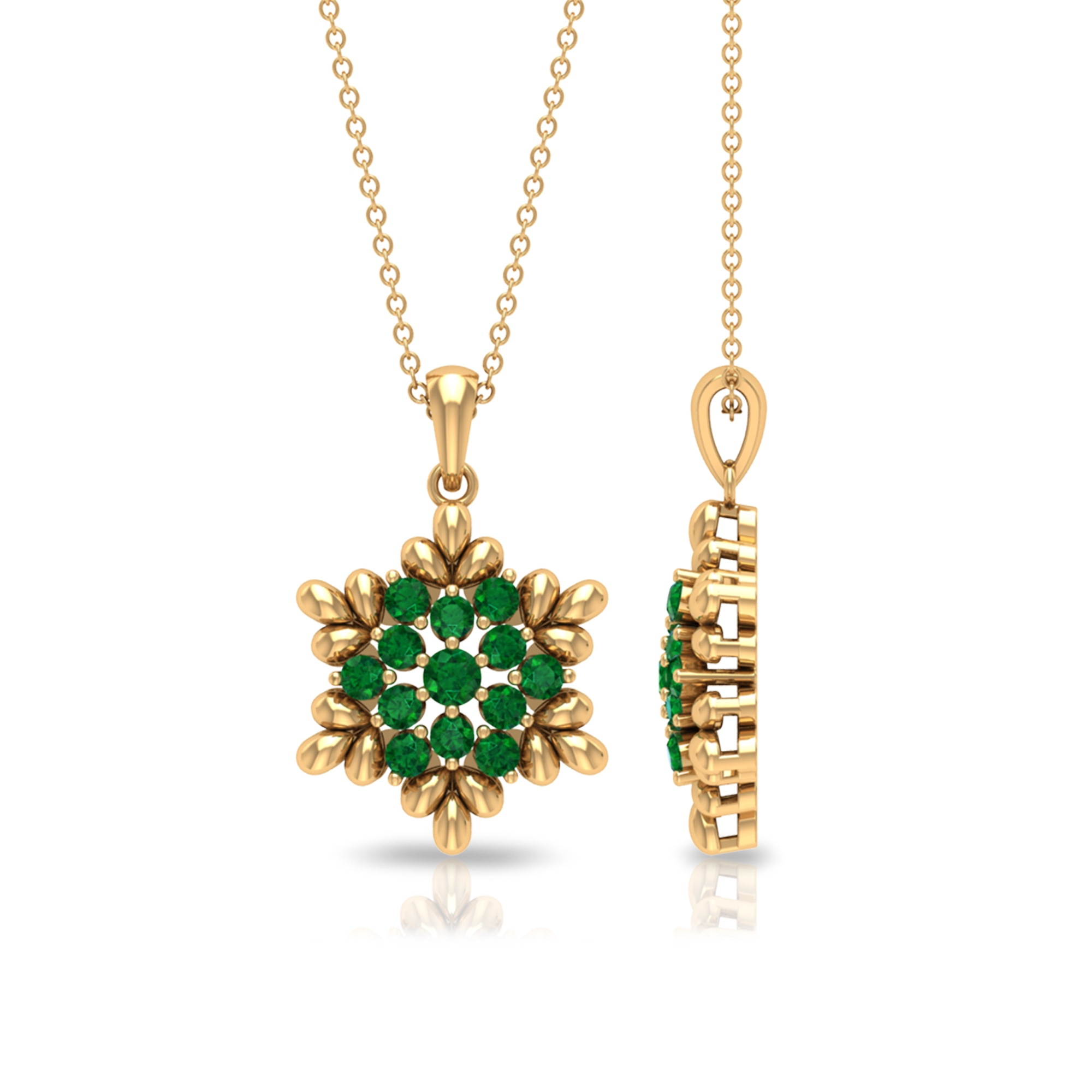 May Birthstone 0.75 CT Emerald Floral Pendant Necklace for Women
