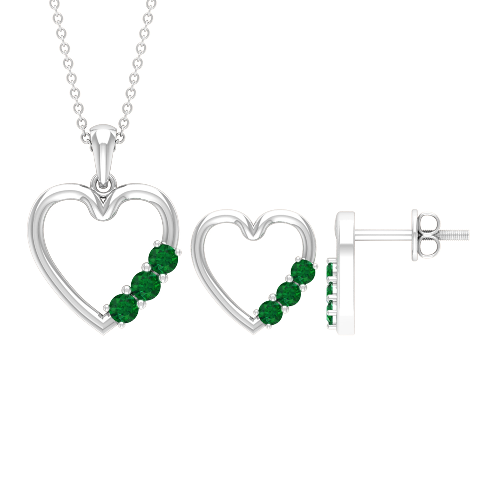 0.50 CT Three Stone Emerald and Gold Open Heart Jewelry Set