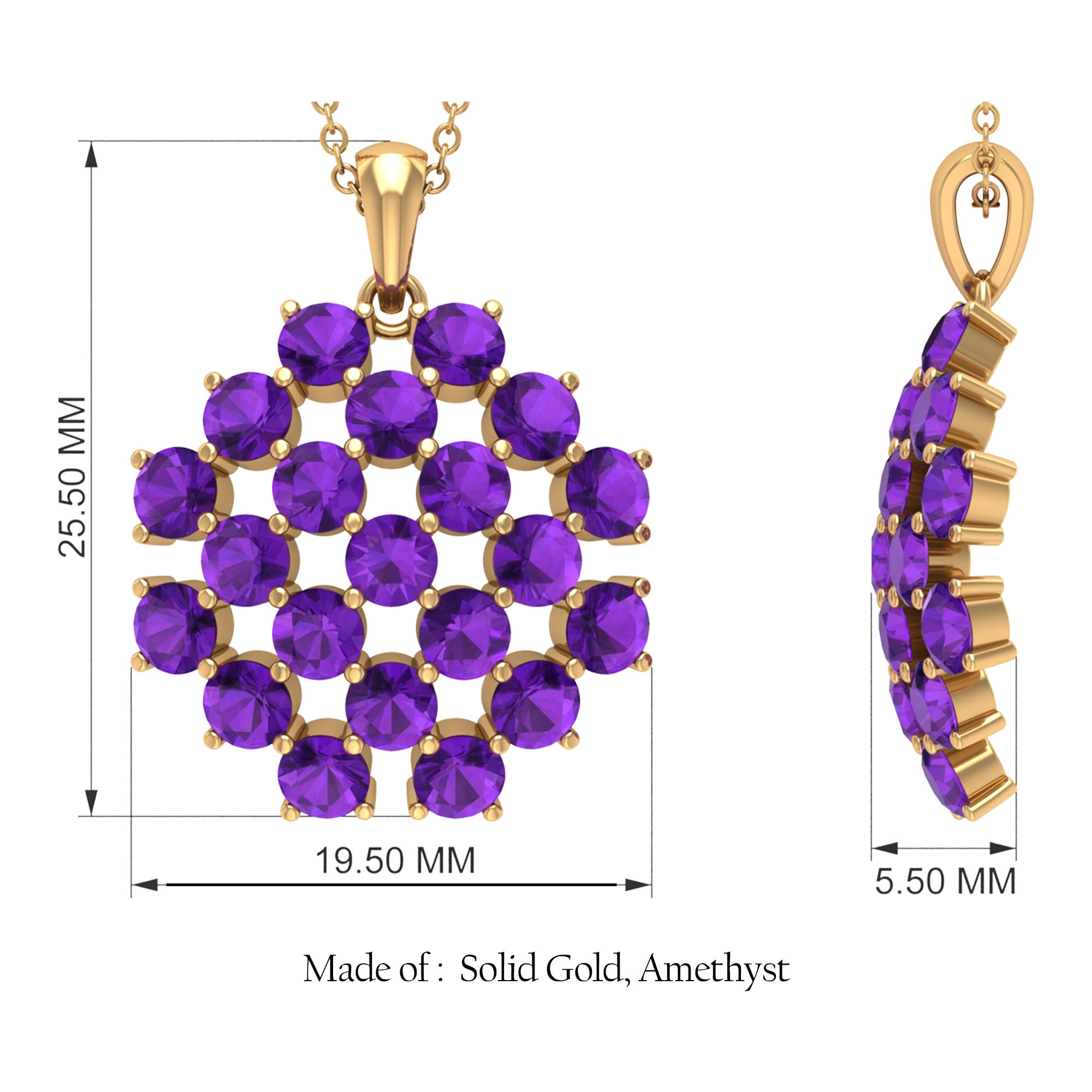 3.50 CT Amethyst Simple Cluster Pendant Necklace