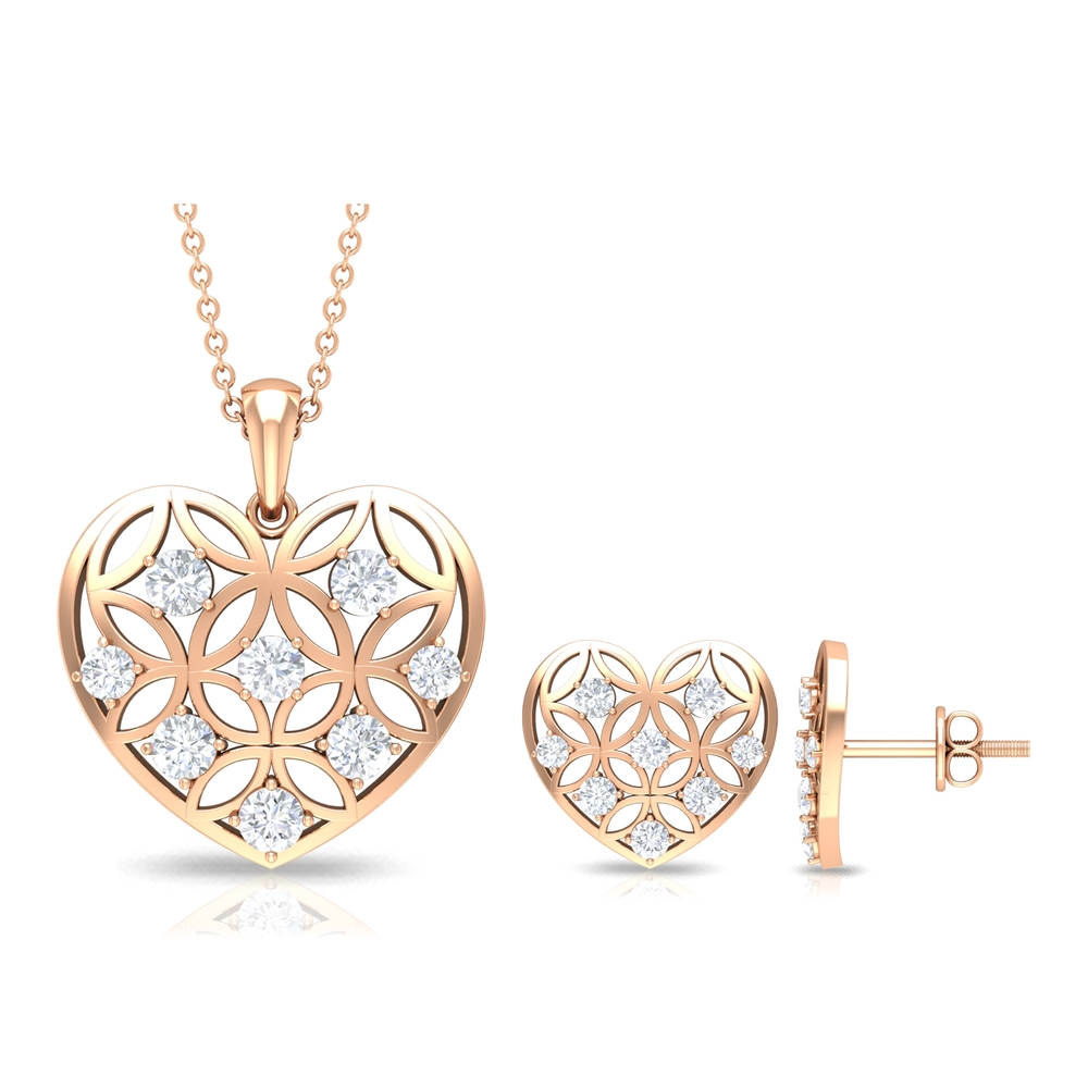 1.25 CT Diamond and Gold Cut Out Heart Jewelry Set