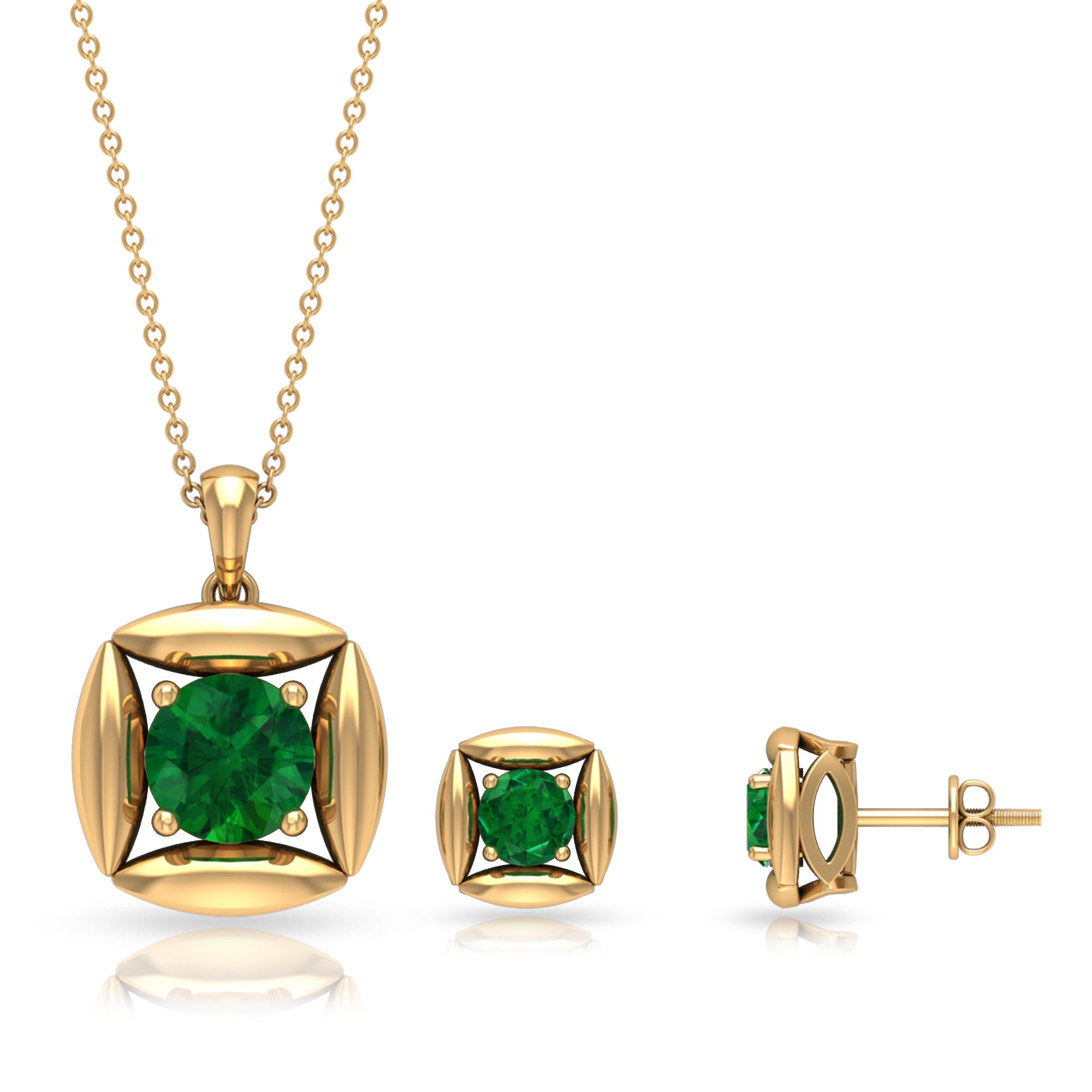 3 CT Minimal Emerald and Gold Pendant Earring Set