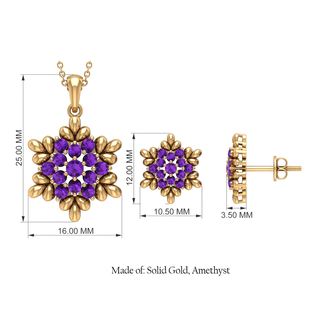 1.25 CT Amethyst and Gold Flower Jewelry Set