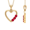 1/2 CT Simple Ruby and Gold Heart Pendant