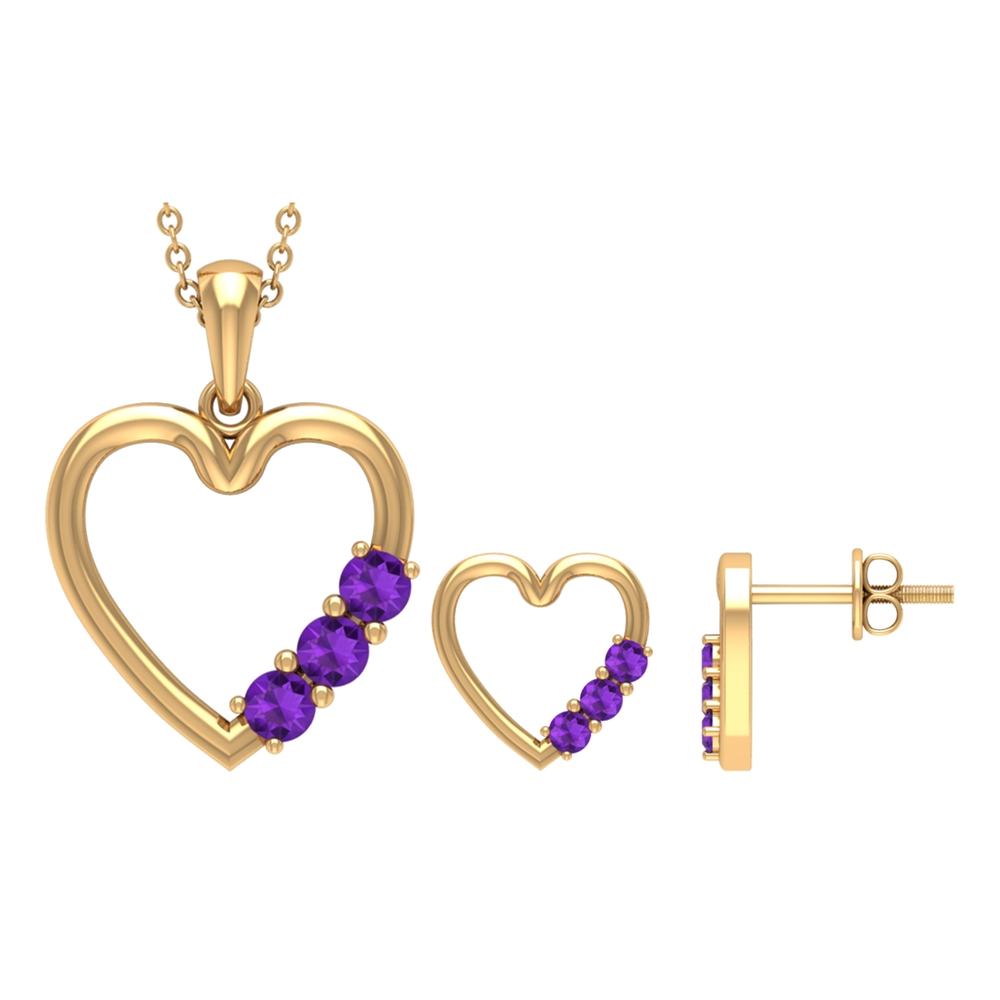 3/4 CT Simple Amethyst and Gold Heart Pendant Earrings Set