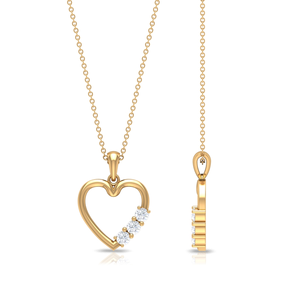 1/4 CT Simple Diamond and Gold Heart Pendant