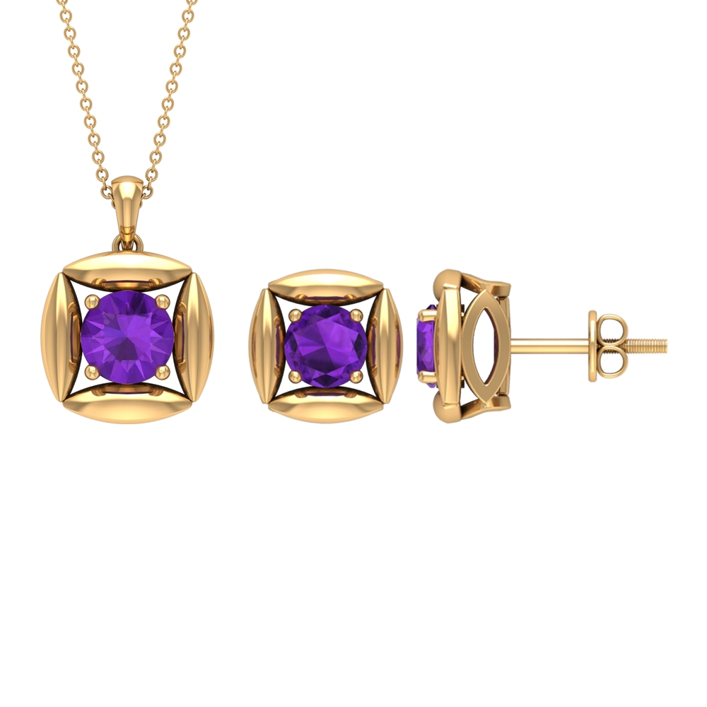 2.50 CT Minimal Amethyst and Gold Pendant Earring Set