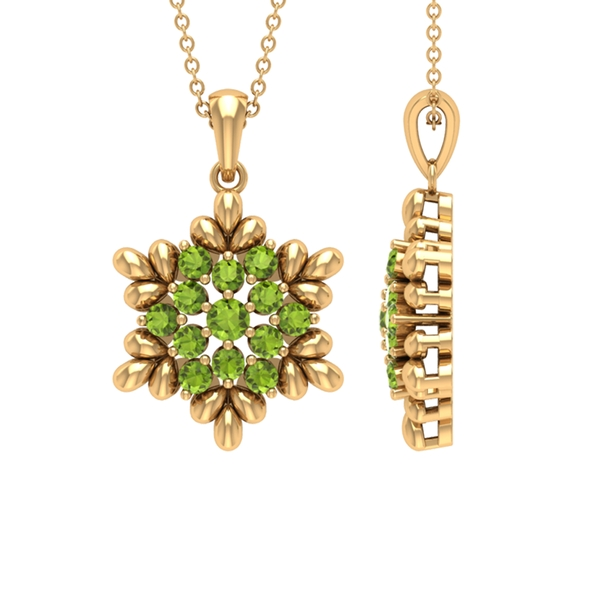 3/4 CT Peridot and Gold Flower Pendant Necklace