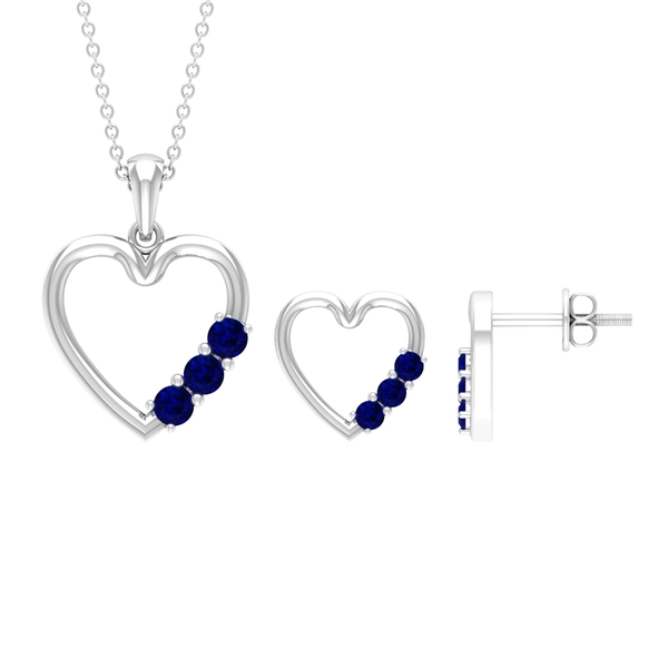 3/4 CT Simple Blue Sapphire and Gold Heart Jewelry Set