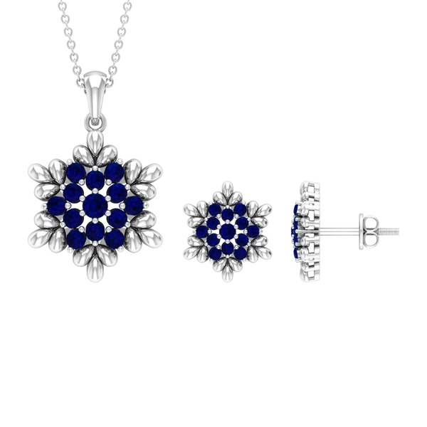 1.25 CT Blue Sapphire and Gold Flower Jewelry Set