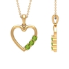 1/2 CT Simple Peridot and Gold Heart Pendant