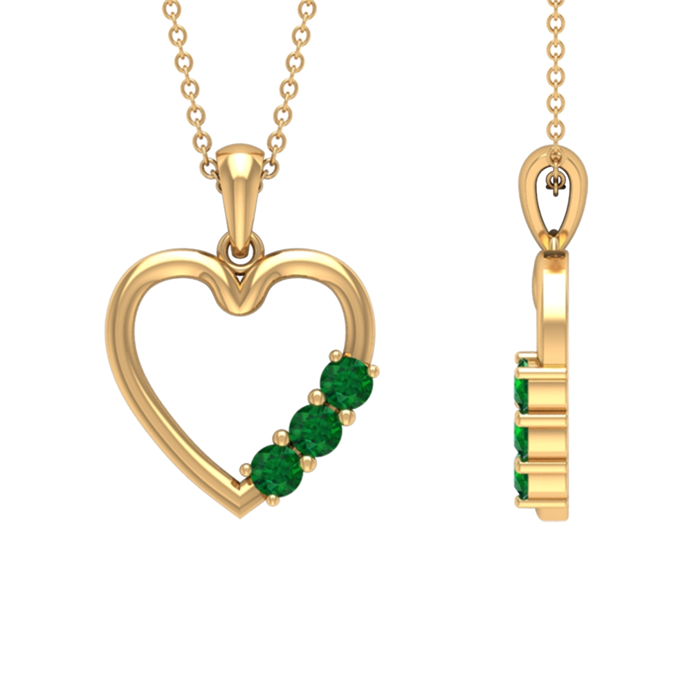 1/2 CT Simple Emerald and Gold Heart Pendant