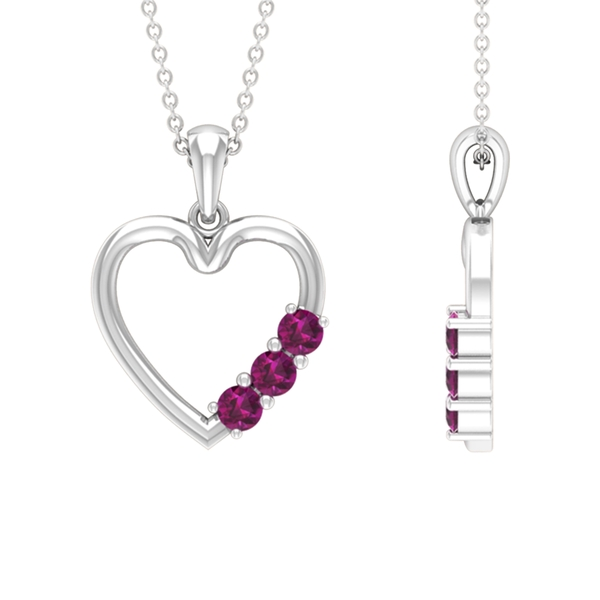 1/2 CT Simple Rhodolite and Gold Heart Pendant