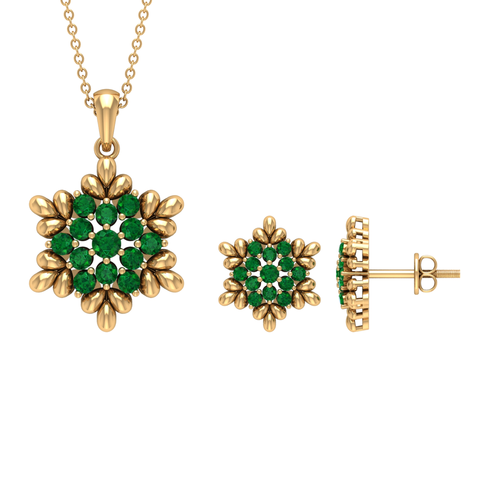 1.25 CT Emerald and Gold Flower Jewelry Set