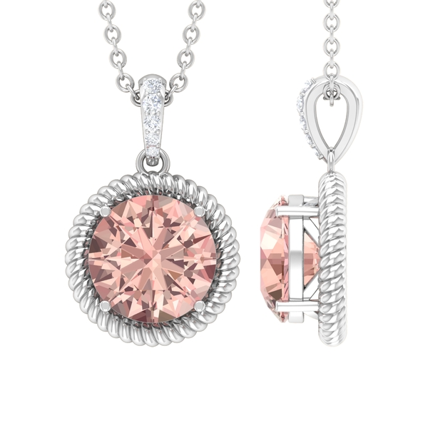 3/4 CT Round Shape Morganite Solitaire Pendant with Moissanite Accent Bail and Twisted Rope Frame