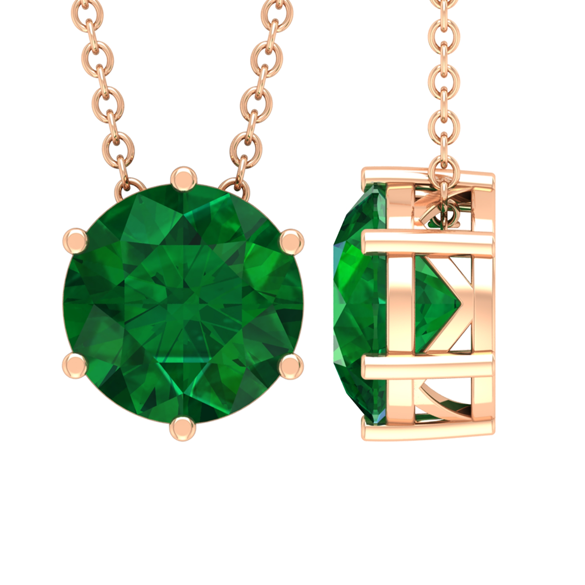 May Birthstone 8 MM Six Prong Set Solitaire Emerald Pendant