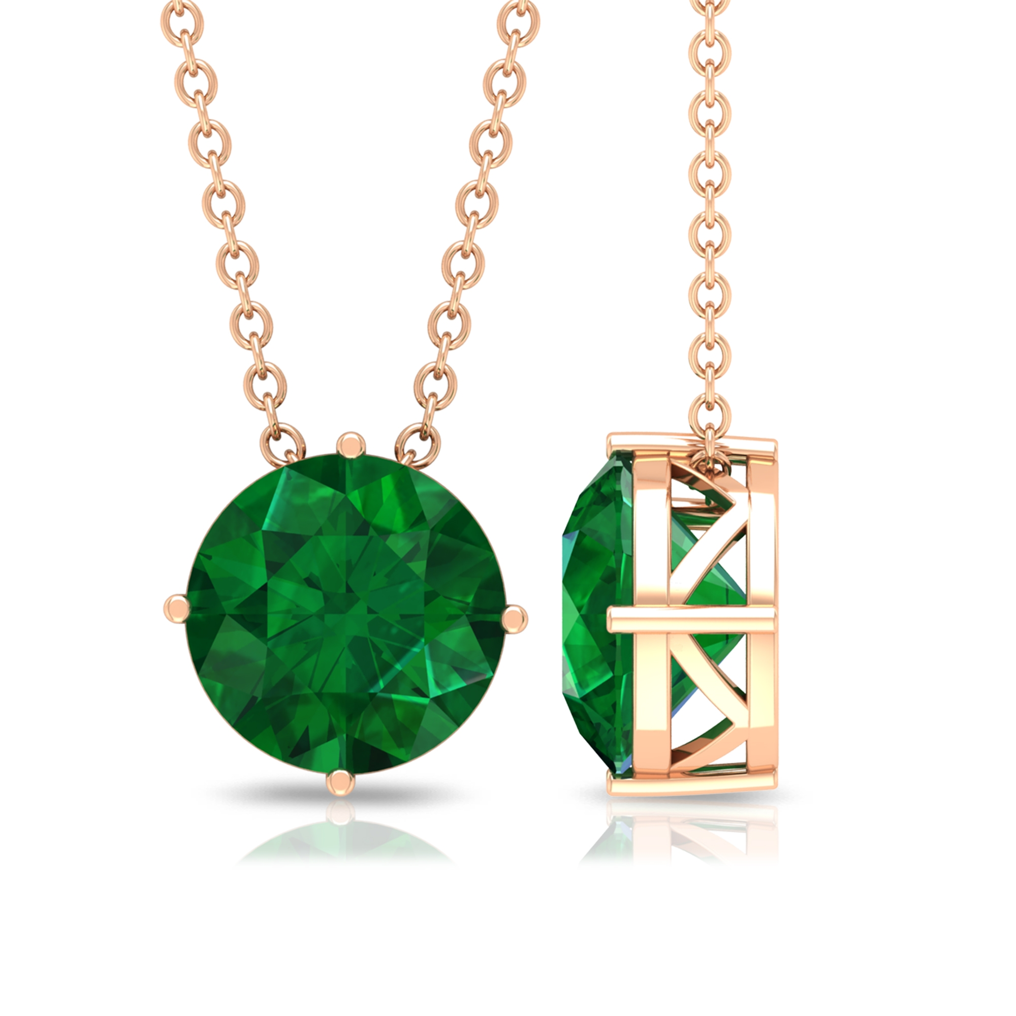 May Birthstone 8 MM Four Prong Diagonal Set Solitaire Emerald Necklace