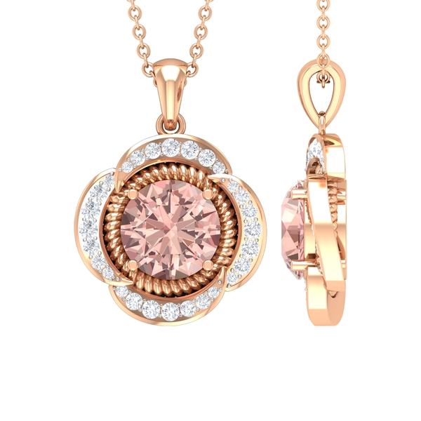 1.25 CT Round Shape Morganite Solitaire and Moissanite Flower Pendant Necklace in Rope Setting