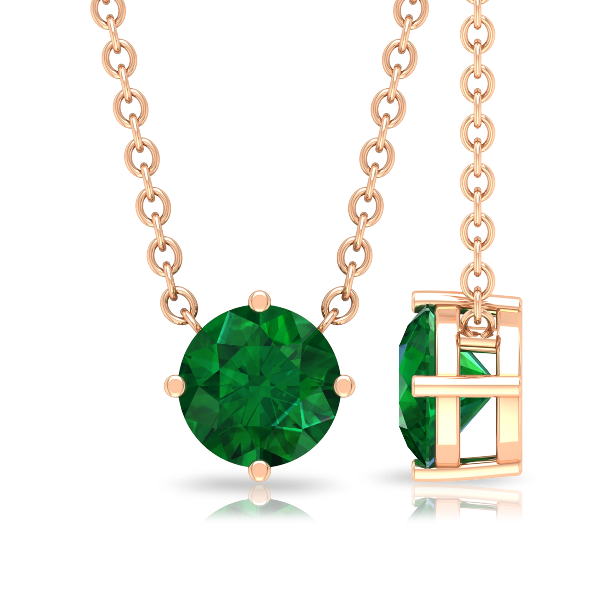 May Birthstone 5 MM Four Prong Diagonal Set Solitaire Emerald Pendant