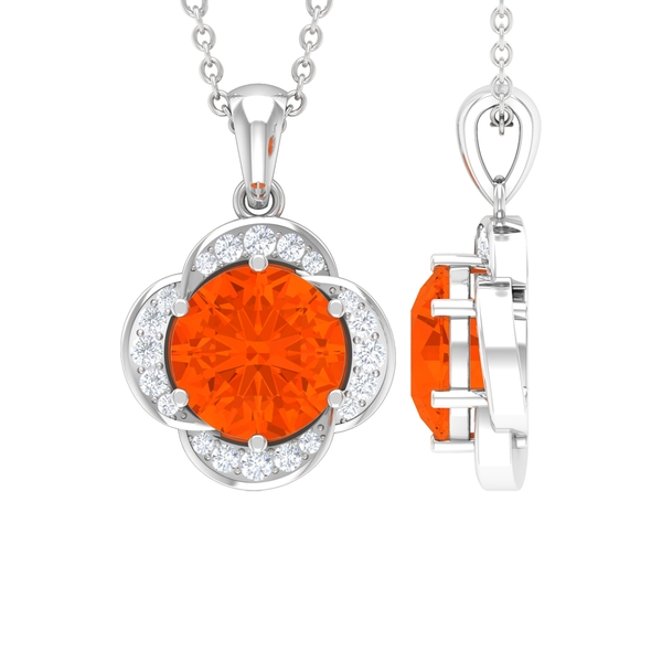 1 CT Round Shape Fire Opal and Moissanite Solitaire Flower Pendant Necklace