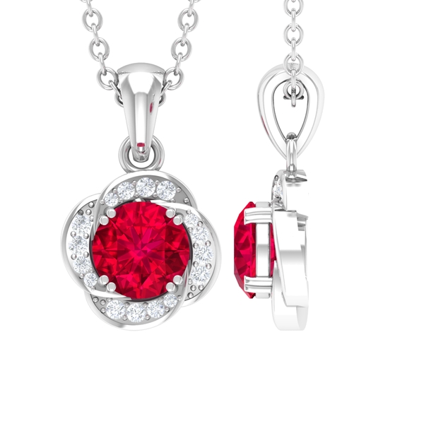 3/4 CT Double Prong Set Created Ruby Solitaire and Diamond Floral Halo Pendant