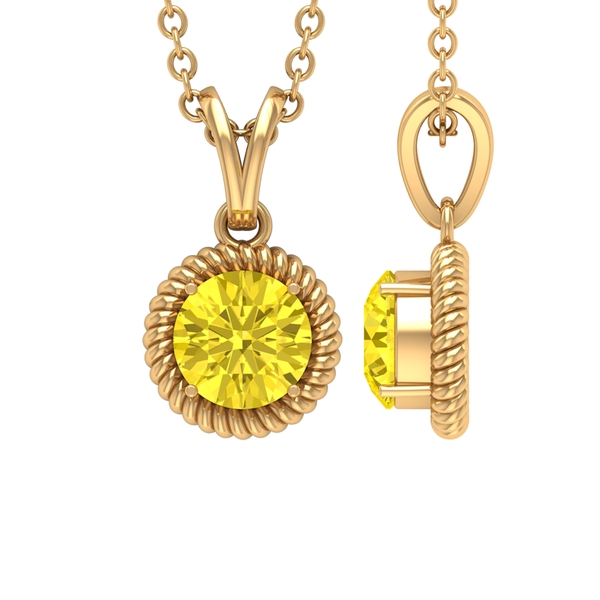 5X5 MM Round Shape Yellow Sapphire Solitaire Pendant in 4 Prong Setting with Rabbit Ear Bail