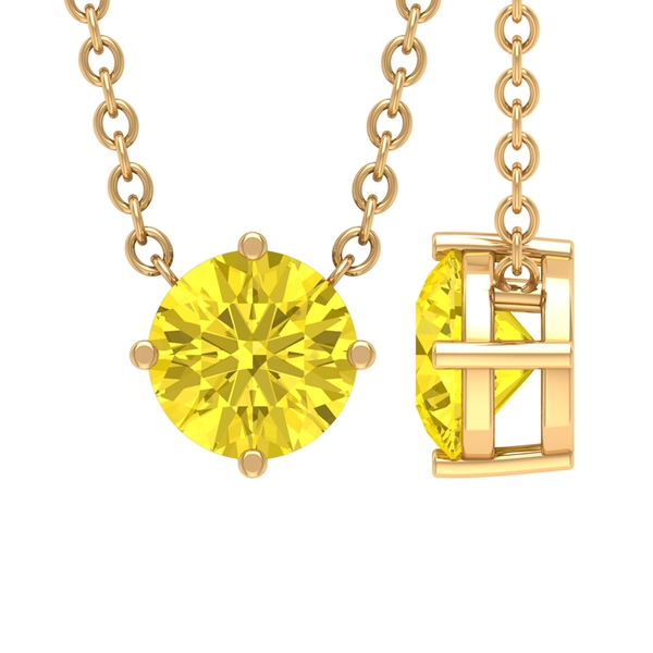 3/4 CT Round Shape Yellow Sapphire Solitaire Gold Drop Pendant Necklace