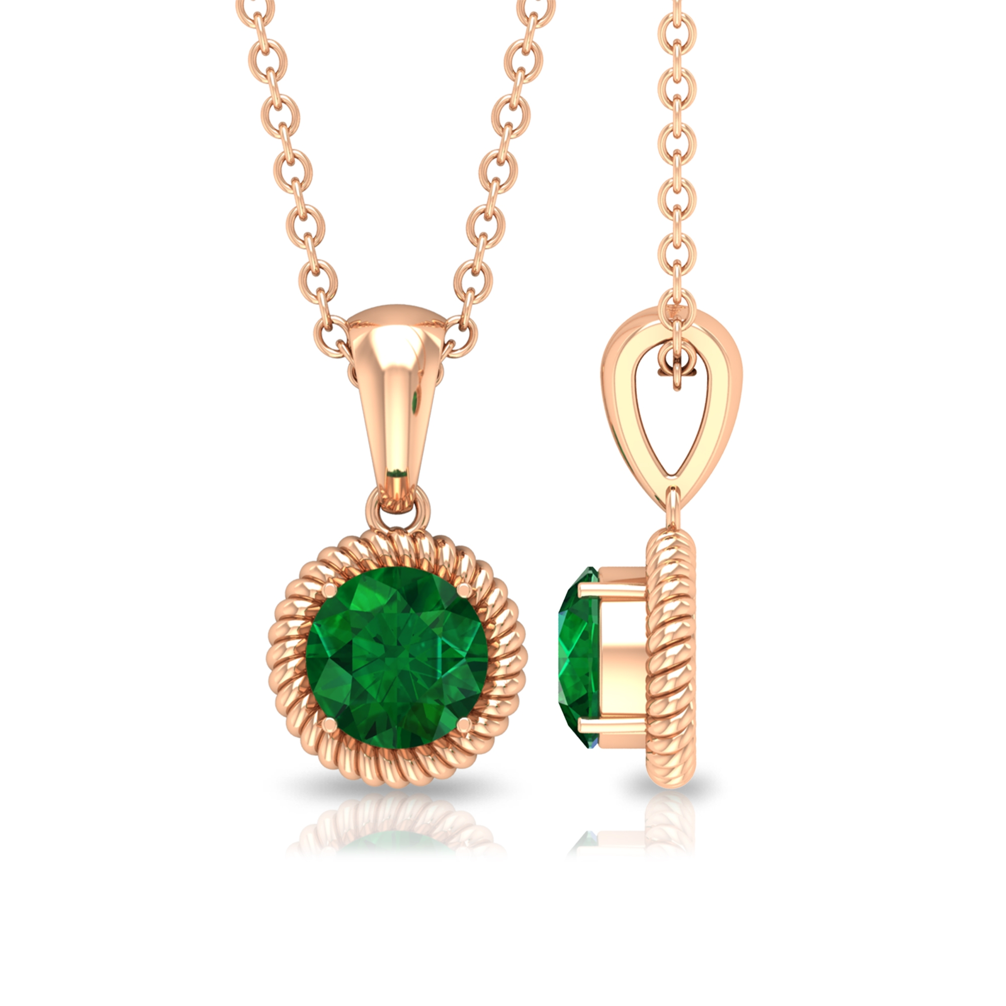 May Birthstone 5 MM Rope Frame Four Prong Set Solitaire Emerald Pendant