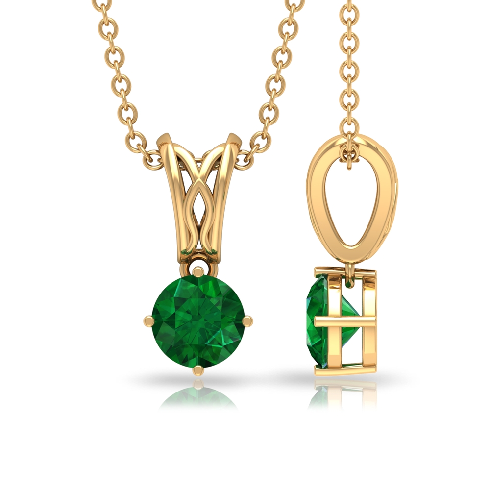 May Birthstone 5 MM Emerald Solitaire Decorative Bail Drop Pendant Necklace for Women