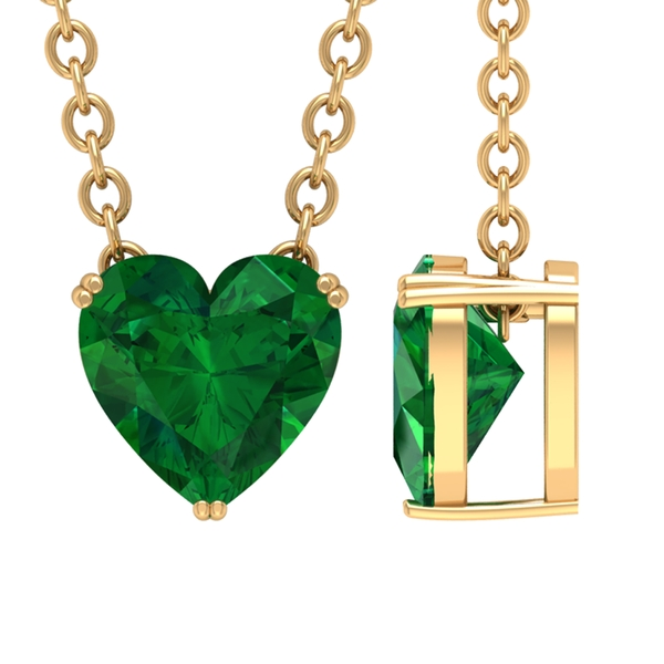 May Birthstone 5 MM Heart Shape Emerald Solitaire Gold Pendant Necklace for Women