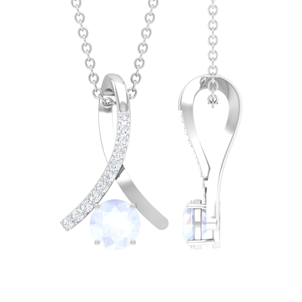 1/4 CT Moonstone and Diamond Accent Pendant in 4 Prong Setting