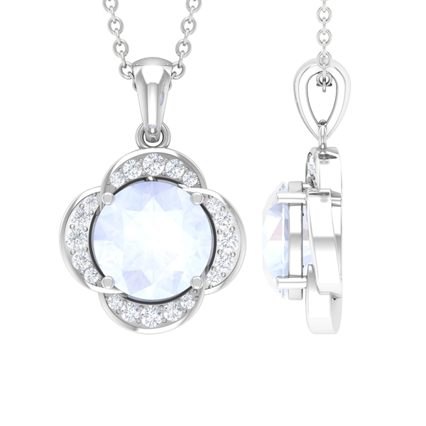 1 CT Round Shape Moonstone and Moissanite Solitaire Flower Pendant in 4 Prong Setting