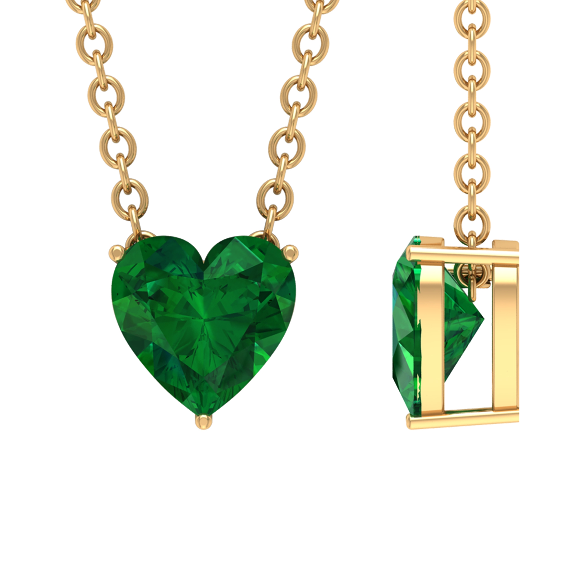 May Birthstone 5 MM Three Prong Set Heart Shape Solitaire Emerald Pendant