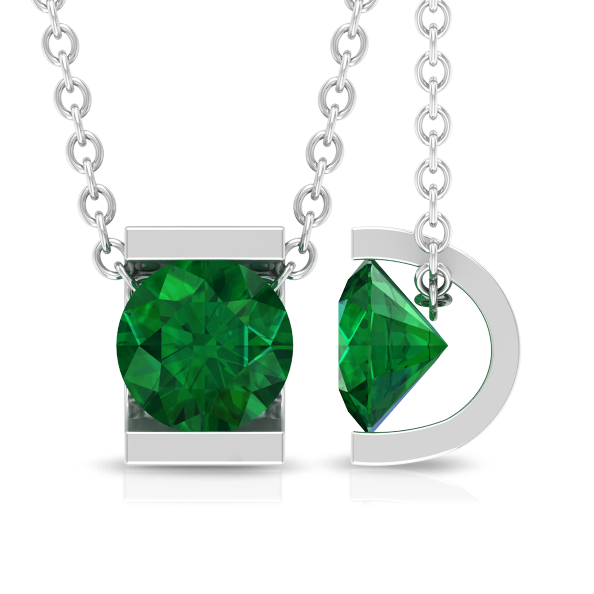5 MM Round Cut Emerald Solitaire Pendant in Bar Setting