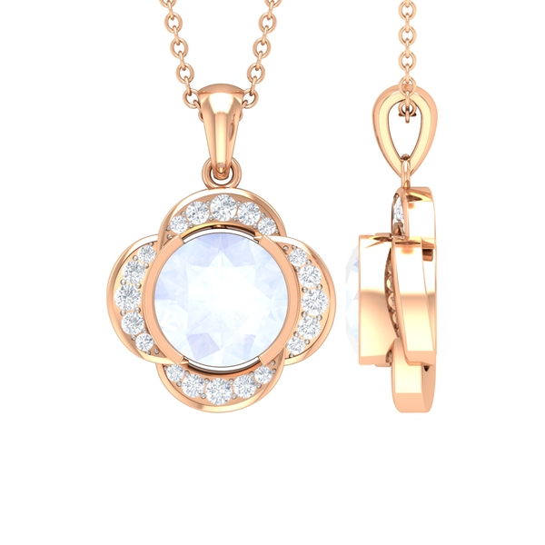 1 CT Round Shape Moonstone and Moissanite Solitaire Floral Pendant for Women