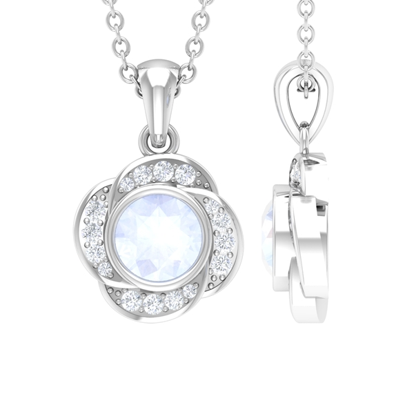 5 MM Round Shape Moonstone and Diamond Gold Floral Pendant for Women