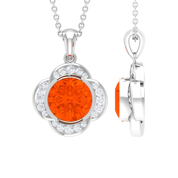 1 CT Round Shape Fire Opal and Moissanite Solitaire Floral Pendant for Women