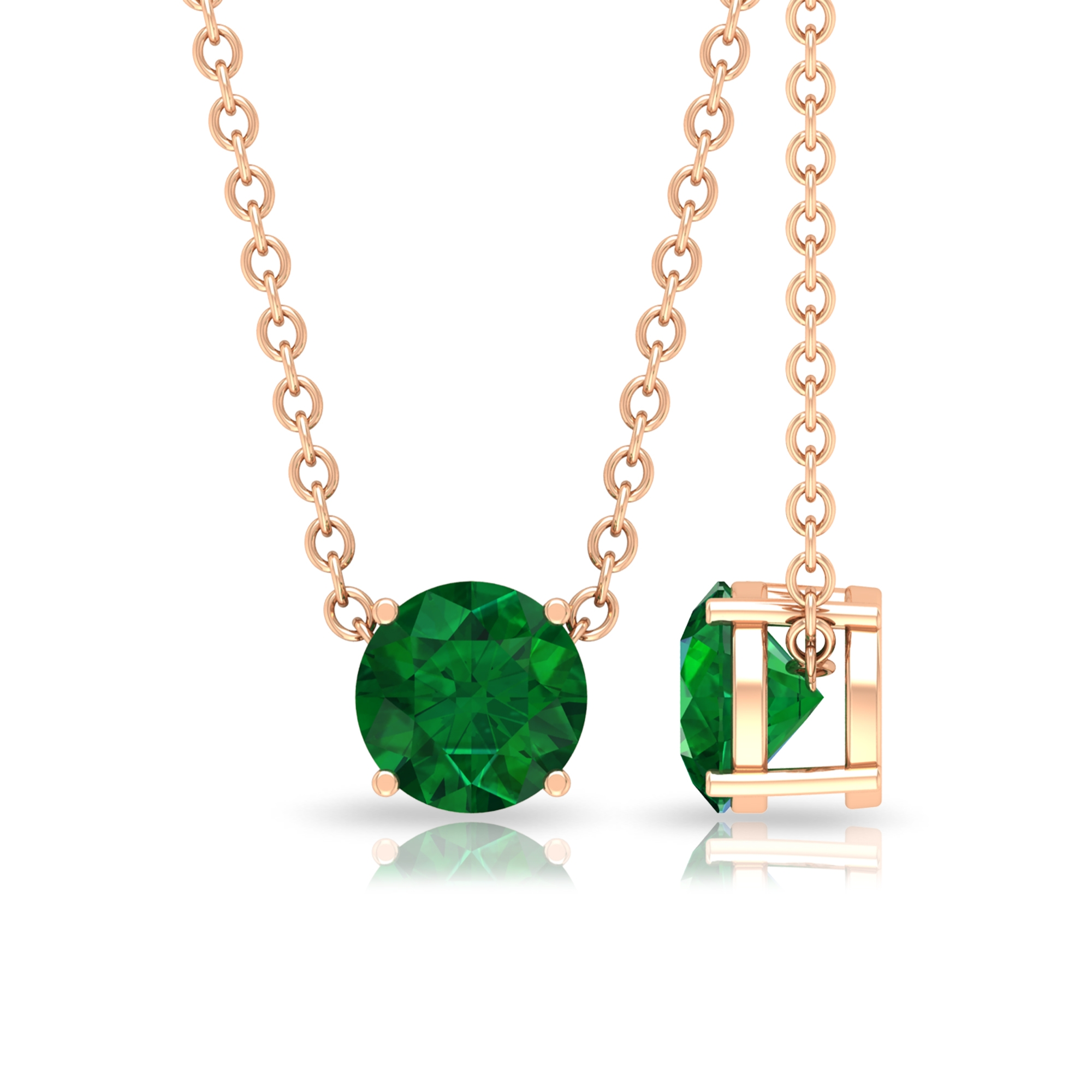 May Birthstone 5 MM Emerald Solitaire Gold Pendant Necklace for Women