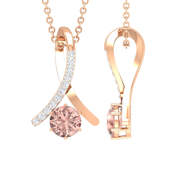 1/4 CT Morganite and Diamond Accent Pendant in 6 Prong Setting