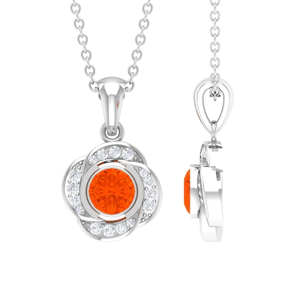 1/4 CT Round Shape Fire Opal Solitaire Floral Pendant with Diamond Halo