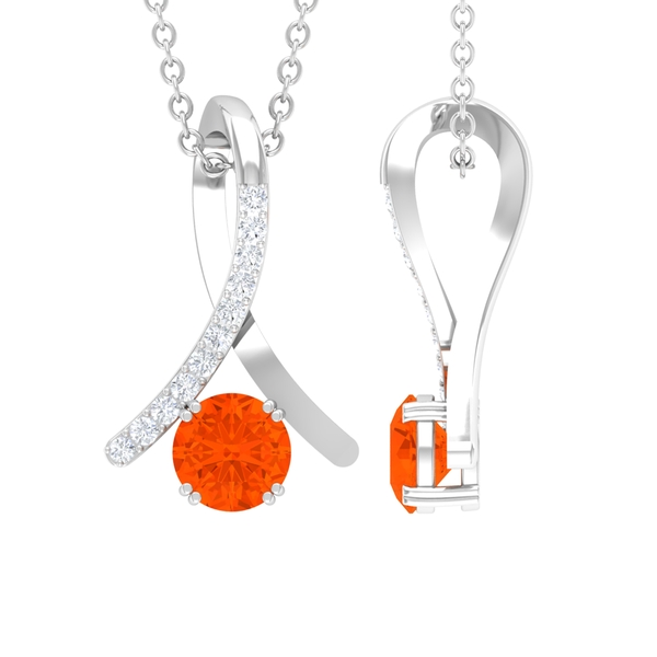 1/4 CT Fire Opal and Diamond Accent Pendant in Double Prong Setting