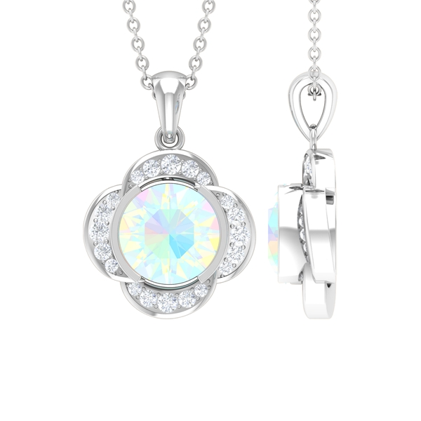 1 CT Round Shape Ethiopian Opal and Moissanite Solitaire Floral Pendant for Women