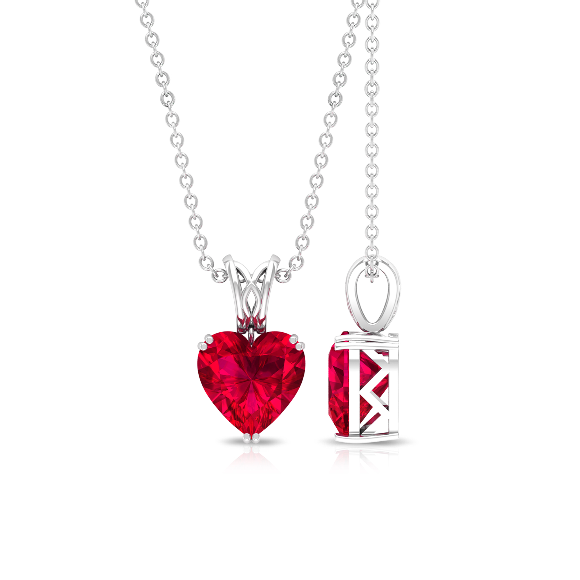 2 CT Double Prong Set Ruby Solitaire Pendant with Decorative Bail