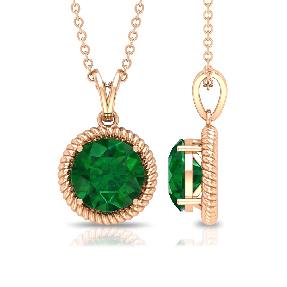 Emerald Solitaire Pendant in Prong Setting with Rope Frame and Rabbit Ear Bail