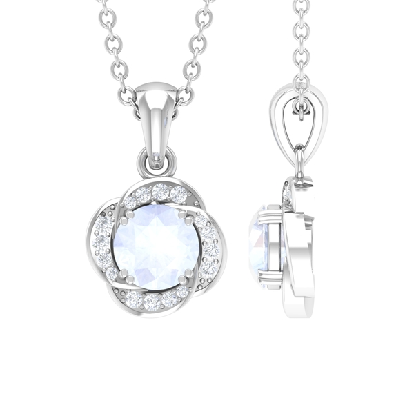 1/4 CT Moonstone and Diamond Floral Halo Pendant with Double Prong Setting
