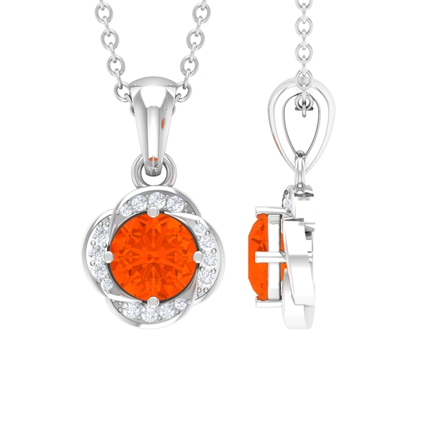 1/4 CT Fire Opal and Diamond Floral Pendant in 4 Prong Setting