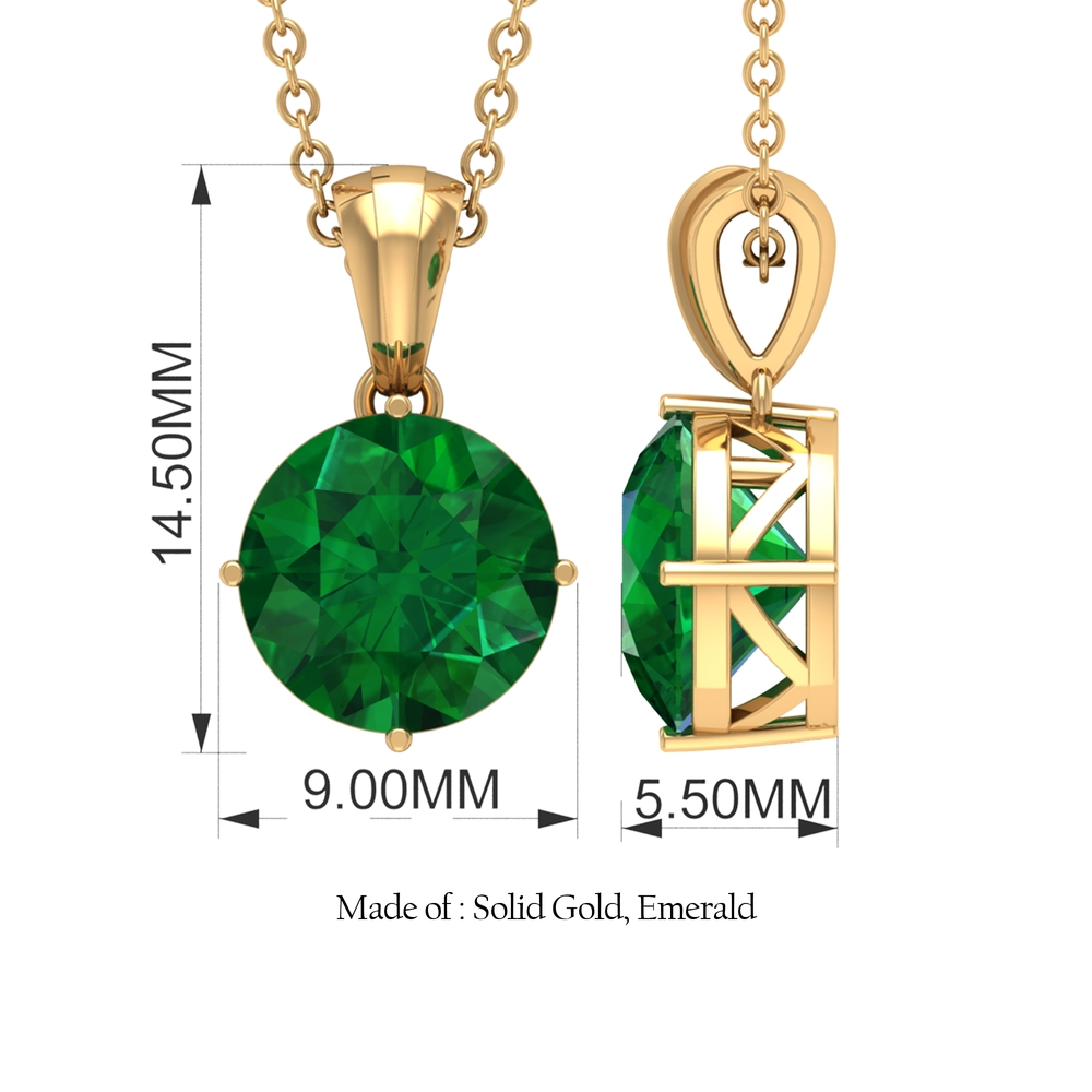 8 MM Round Cut Emerald Solitaire Pendant in 4 Prong Diagonal Setting