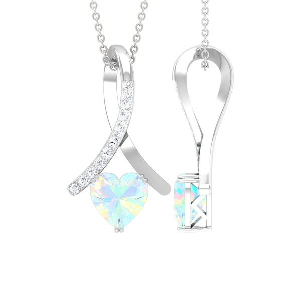 1.25 CT Heart Shape Ethiopian Opal and Moissanite Accent Pendant in Double Prong Setting