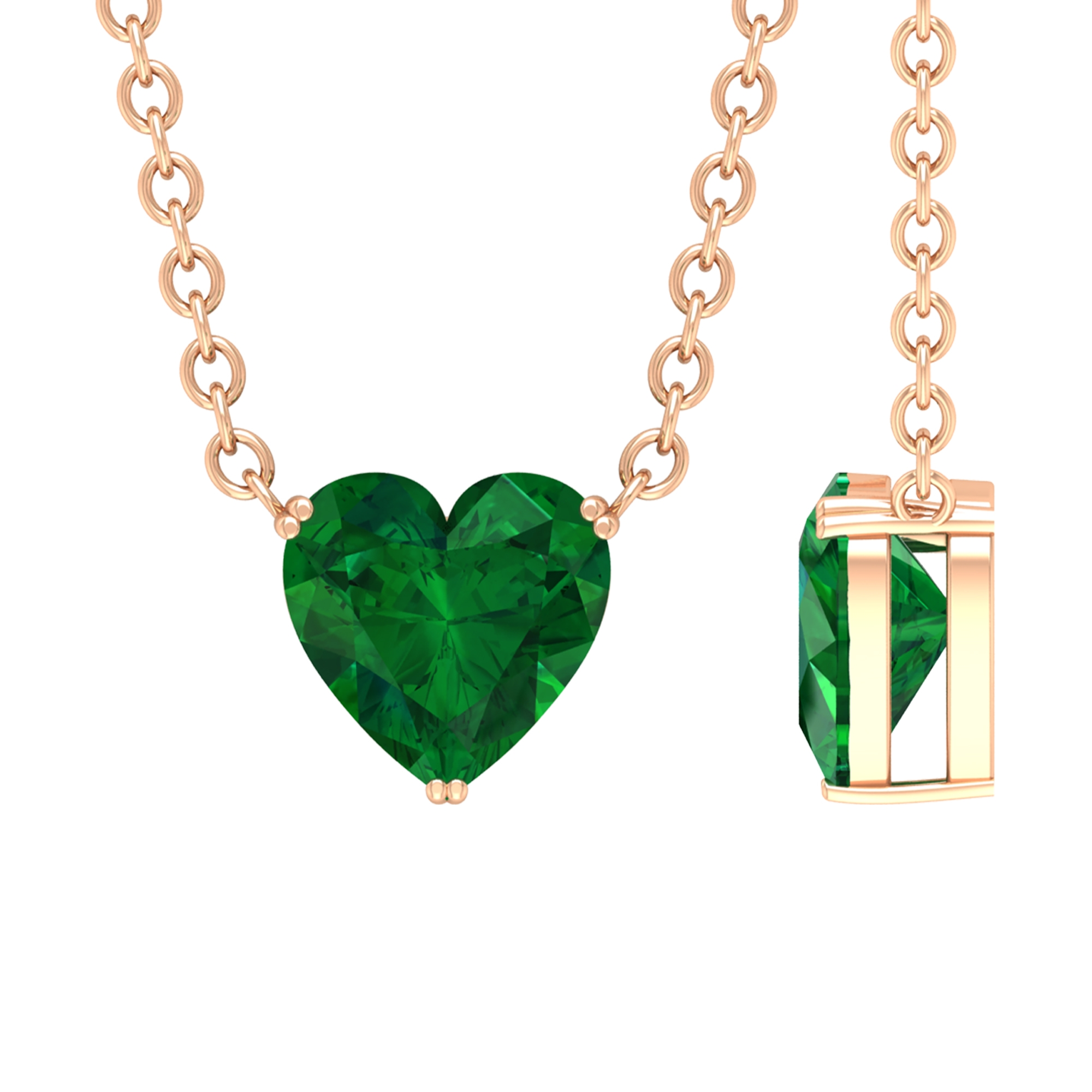 5 MM Heart Cut Emerald Solitaire Necklace in Double Prong Setting