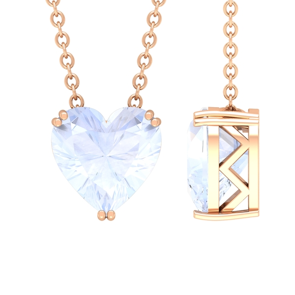 8X8 MM Heart Shape Moonstone Solitaire Necklace in Double Prong Setting