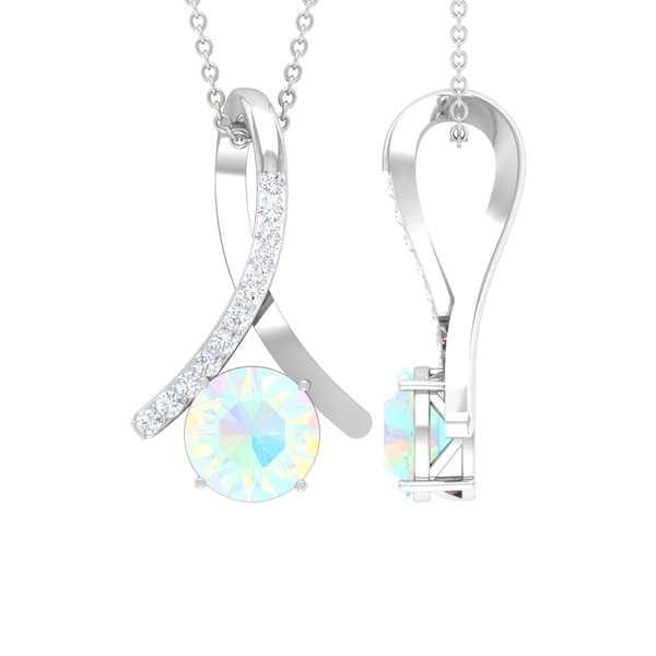 1 CT Ethiopian Opal and Moissanite Accent Pendant in 4 Prong Setting